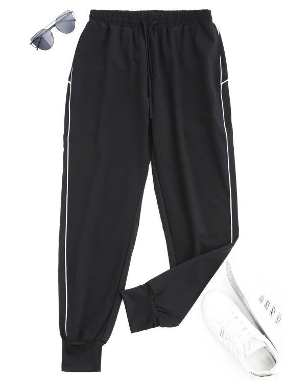 chic Drawstring Sports Jogger Pants - WHITE M