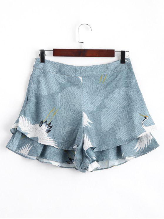 women Layered Ruffles Crane High Waisted Shorts - FLORAL S