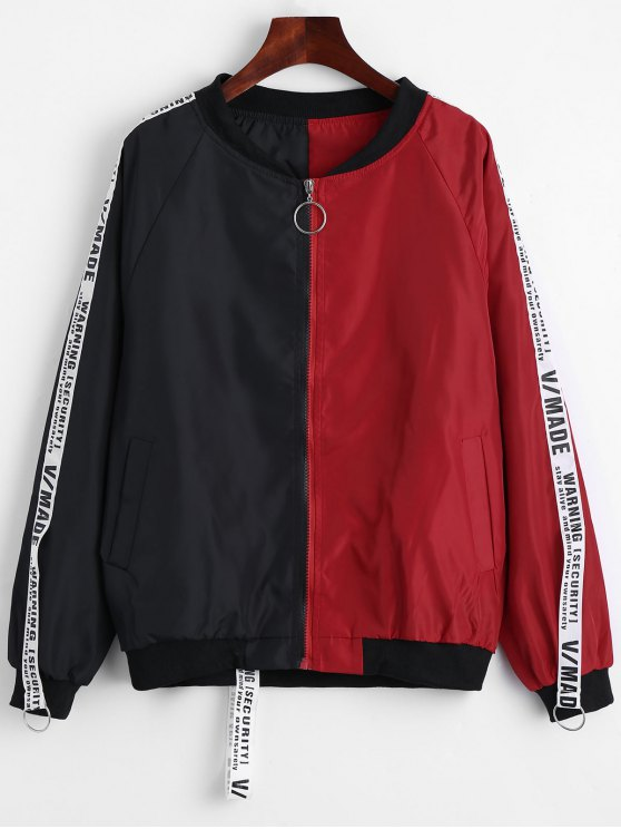 hot Applique Contrast Bomber Jacket - RED WITH BLACK S