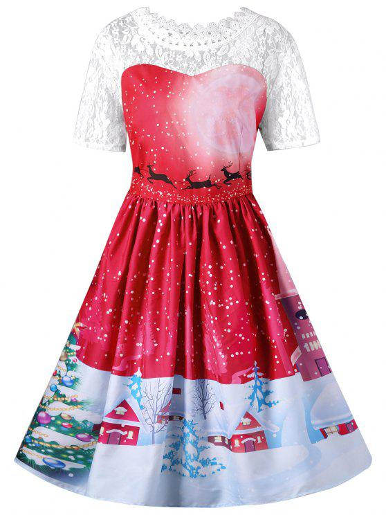 Christmas Swing Dress.Christmas Lace Yoke Swing Dress Blue Green Red Violet Rose