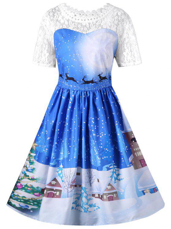 Vestido de oscilación de encaje de Navidad - Azul M