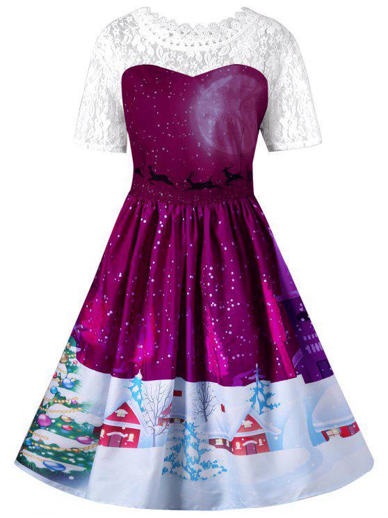 Vestido de oscilación de encaje de Navidad - Rosa Violeta M