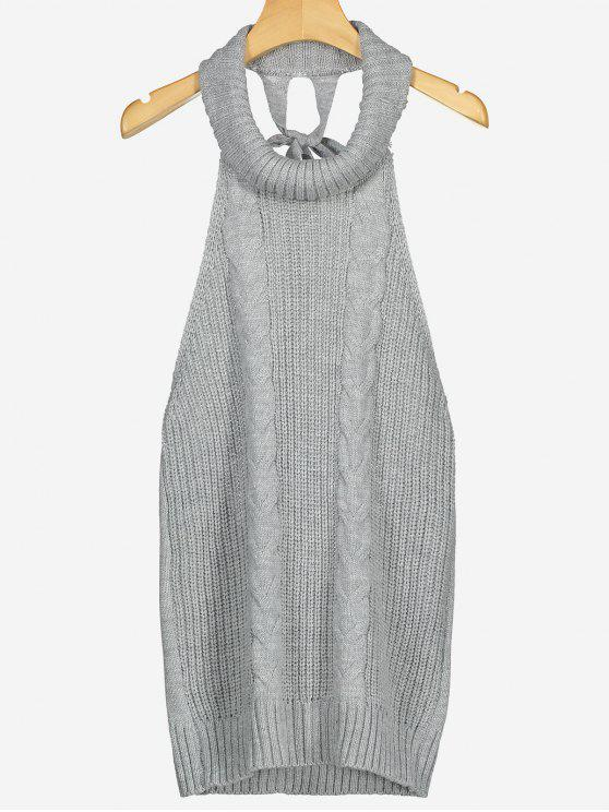 Open Back Cable Knit Turtleneck Sleeveless Sweater Gray Sweaters