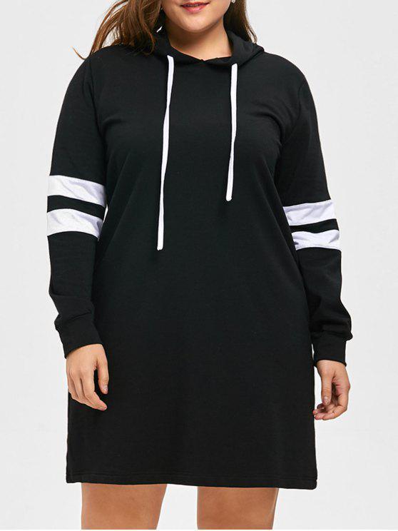 هوديي مخطط بفتحات طويلة - أسود 5XL