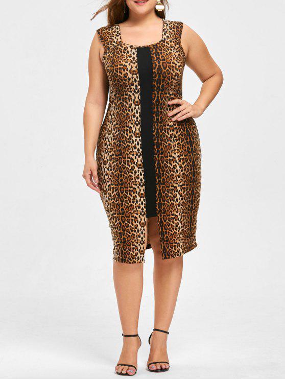 2018 Plus Size Leopard Sleeveless Dress In Black Leopard Print 2xl