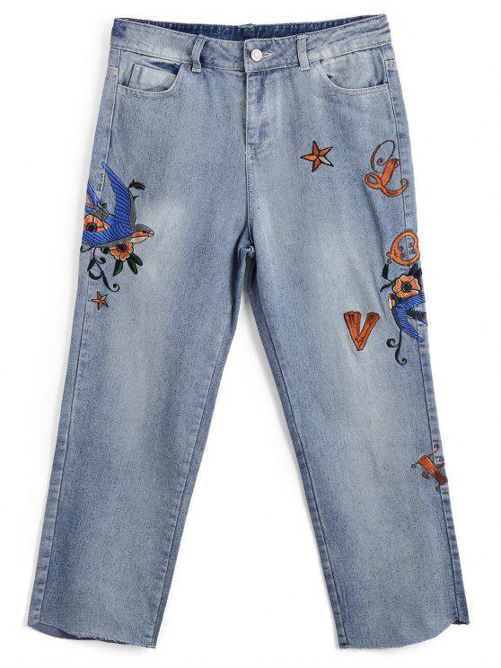 Bleach Wash gestickte Capri Jeans - Denim Blau L