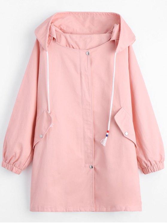 Zippered Drawstring abrigo con capucha con bolsillos - Rosa S