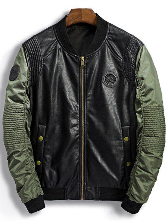 new Patch Design PU Panel Bomber Jacket - GREEN L