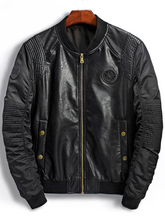 Patch Design PU Panel Bomber Jacket BLACK: Jackets & Coats M | ZAFUL