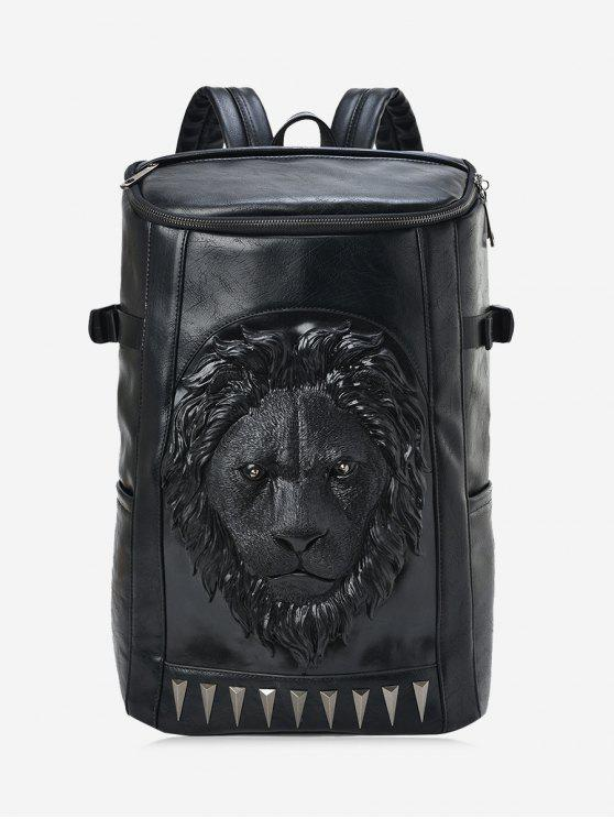 Lion Head Faux Leather Backpack - Preto