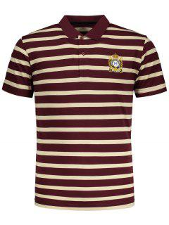 Contrast Striped Polo T-shirt - Red L