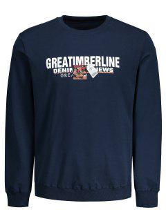 Crew Neck Letter Sweatshirt - Deep Blue L