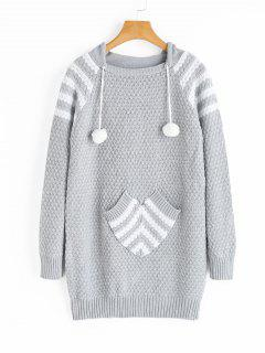 Striped Hooded Sweater With Pocket - Gray