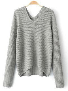 High Low V Neck Pullover Sweater - Gray