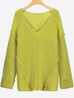 Drop Shoulder Pullover V Neck Sweater - Lemon Yellow L