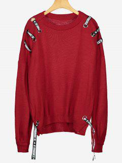 Drop Shoulder Side Slit Embellished Sweater - Red