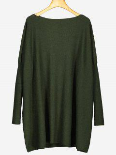 Oversized Plain Longline Sweater - Army Green