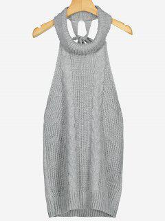Open Back Cable Knit Turtleneck Sleeveless Sweater - Gray