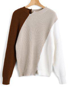 Color Block Raglan Sleeve Slit Sweater - Café