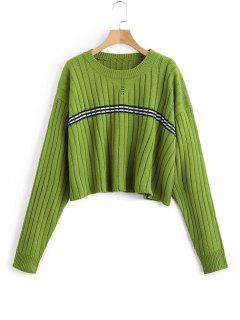 Oversized Cropped Stripes Panel Sweater - Green