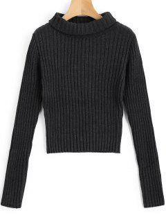 Pullover Turtleneck Ribbed Pullover - Dunkelgrau S