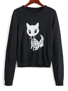 Diamanted Fox Jacquard Pullover Sweater - Black