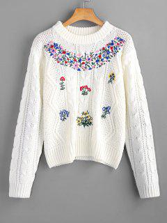 Floral Patched Cable Knit Sweater - Off-white