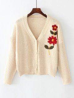 Button Up V Neck Floral Embroidered Cardigan - Off-white