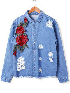 Appliqued Distressed Denim Jacket - Denim Blue L