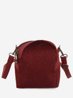 Faux Suede Asymmetric Crossbody Bag - Red