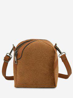 Faux Suede Asymmetric Crossbody Bag - Brown