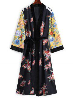 Belted Floral Velvet Panel Duster Coat - Floral M