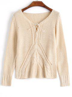 Lace Up Cable Knit Pullover Sweater - Apricot