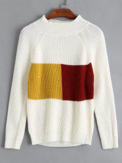 Color Block Ribbed Pullover - Weiß