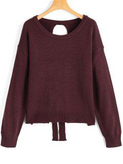 Cut Out Lace Up Pullover Sweater - Wine Red
