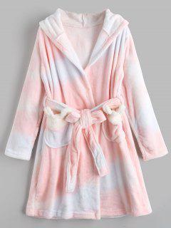 Cartoon Hooded Flannel Loungewear - Pink Xl