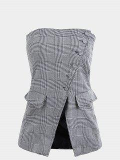 Button Up Checked Tube Top - Checked S