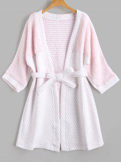 Two Tone Flannel Textured Loungewear - White M