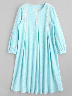 Vestido De Salón Flocado Con Estampado - Lago Azul M