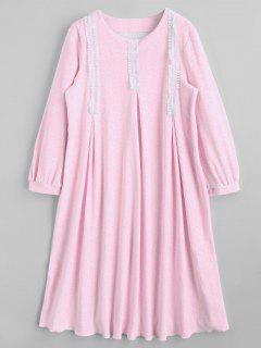 Patterned Flocking Loungewear Kleid - Pink M