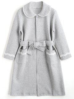 Loungewear Textured Flocking Night Robe - Gray Xl