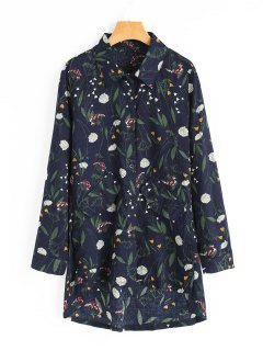 Faux Pockets Floral Print High Low Shirt - Purplish Blue M