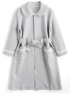 Loungewear Textured Flocking Night Robe - Gray M