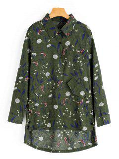 Faux Pockets Floral Print High Low Shirt - Army Green M