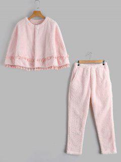 Flanel Loungwear Cape Avec Pantalons - Rose Clair L