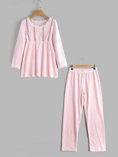 Applique Loungwear Flocking Top Mit Hosen - Pink L