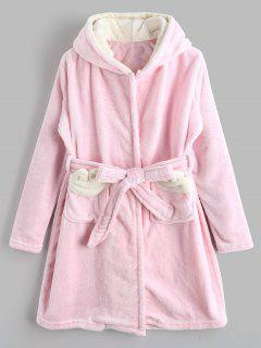 Cute Hooded Cartoon Flannel Loungewear - Pink Xl