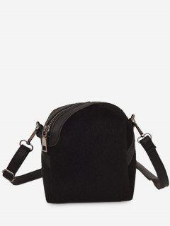 Faux Suede Asymmetric Crossbody Bag - Black
