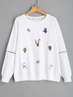 Animal Embroidered Sweatshirt - White