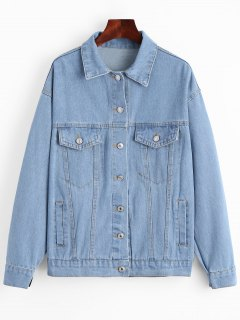 Button Up Lace Up Denim Jacket - Light Blue M